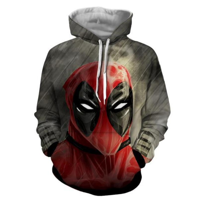 Angry Face Gray Deadpool Hoodie