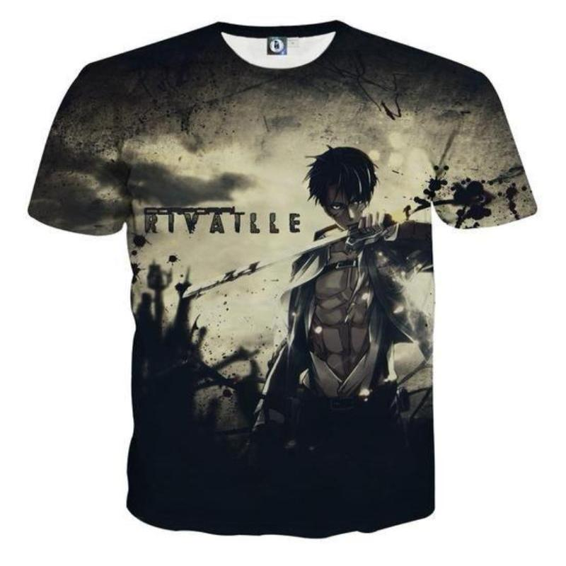 Attack On Titan T Shirt Cool Levi Attack On Titan 3D Printed  T-Shirt