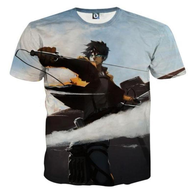 Attack On Titan 3D Printed Attack On Titan T Shirt Eren Blades