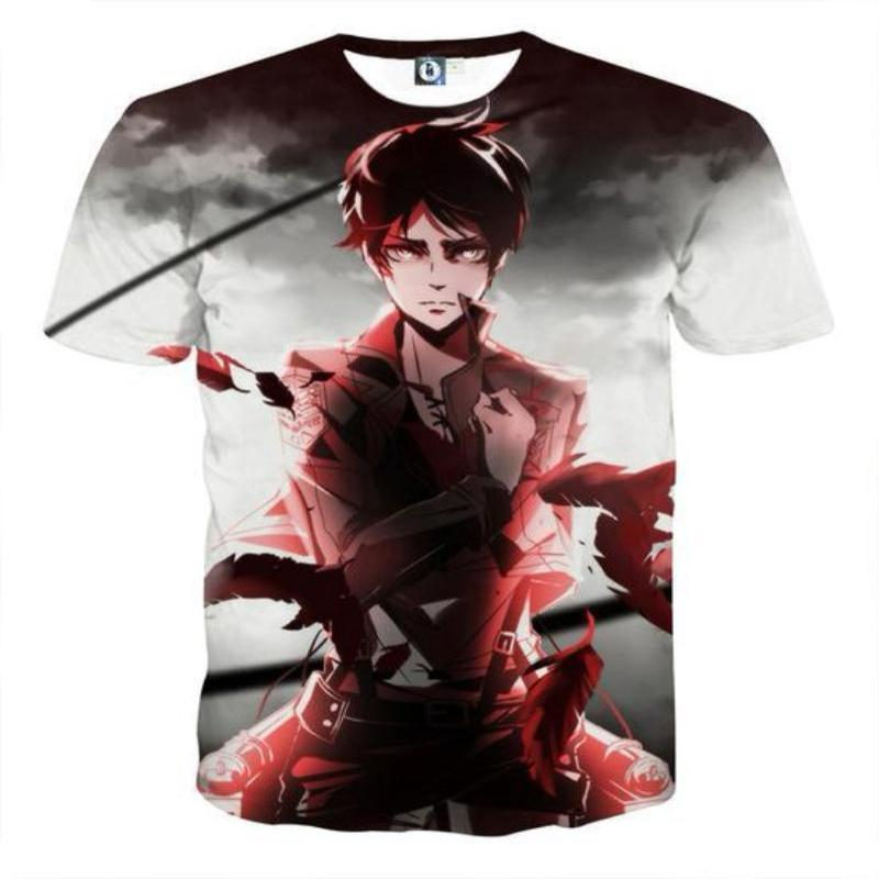 Attack On Titan 3D Printed Attack On Titan T Shirt White Red Eren