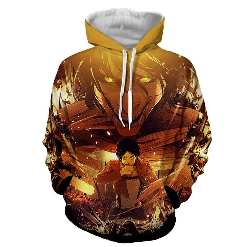 Attack On Titan Eren Fight 3D Printed Hoodie