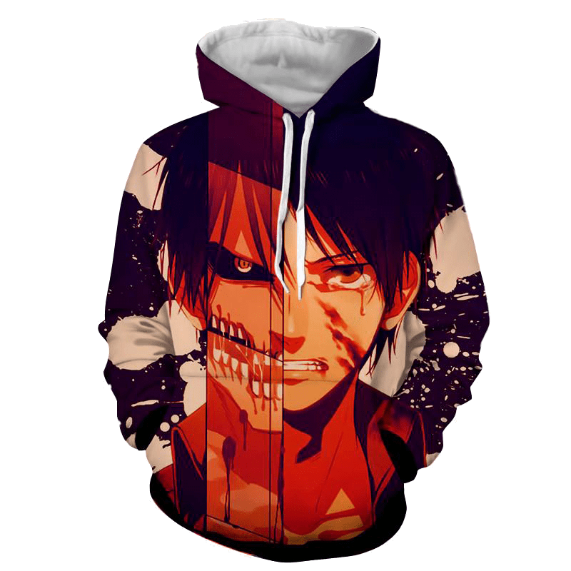 Attack On Titan 3D Printed Eren Fight Hoodie