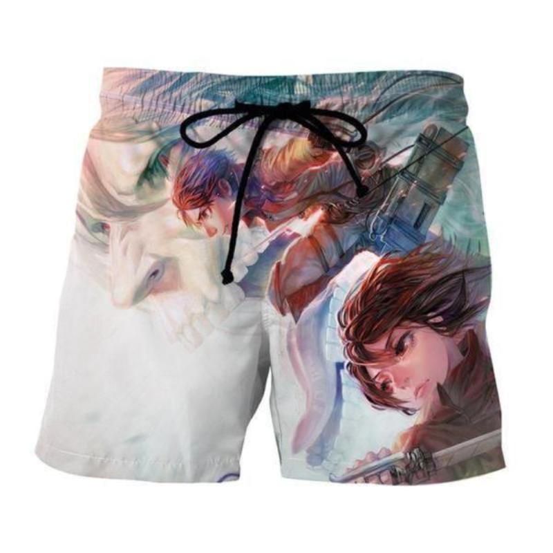Attack On Titan 3D Printed Eren Mikasa Attack On Titan Shorts
