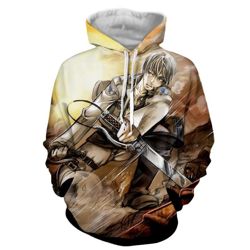 Attack On Titan Eren White Hair 3D Printed Hoodie