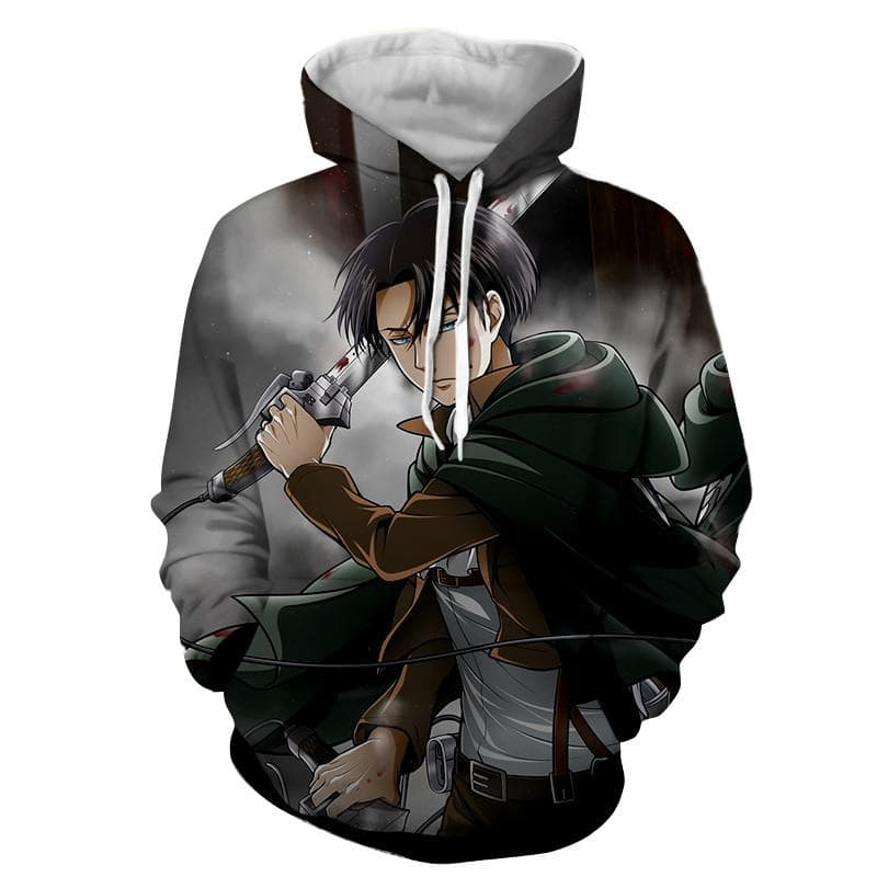 Attack On Titan 3D Printed Levi Black Attack on Titan Hoodie