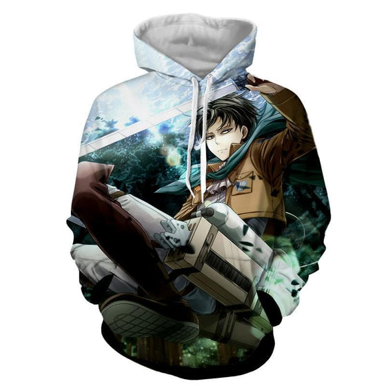 Attack On Titan 3D Printed Levi Swinging Attack on Titan Hoodie
