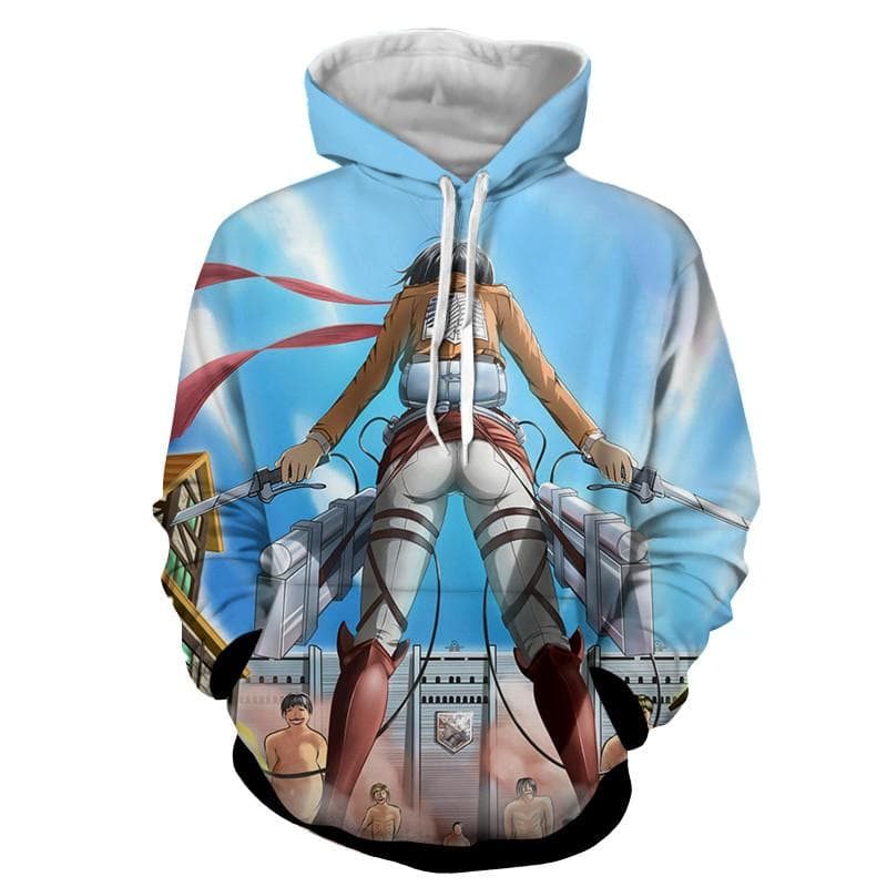 Attack On Titan 3D Printed Mikasa Blue Attack On Titan Hoodie