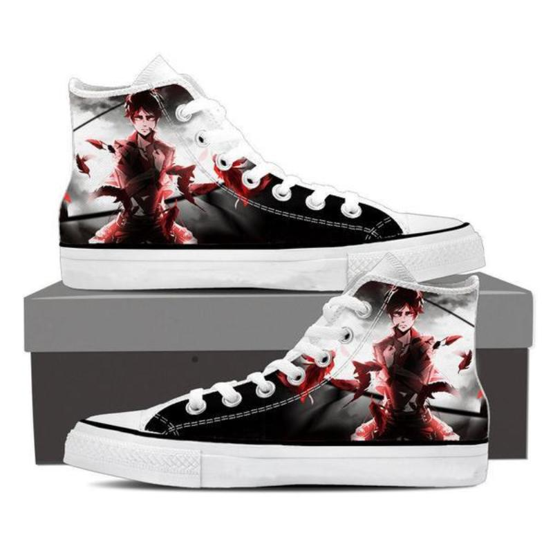 Attack On Titan Eren White and Black Attack On Titan Shoes