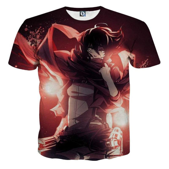 Attack On Titan Red Mikasa 3D Printed Attack On Titan T Shirt