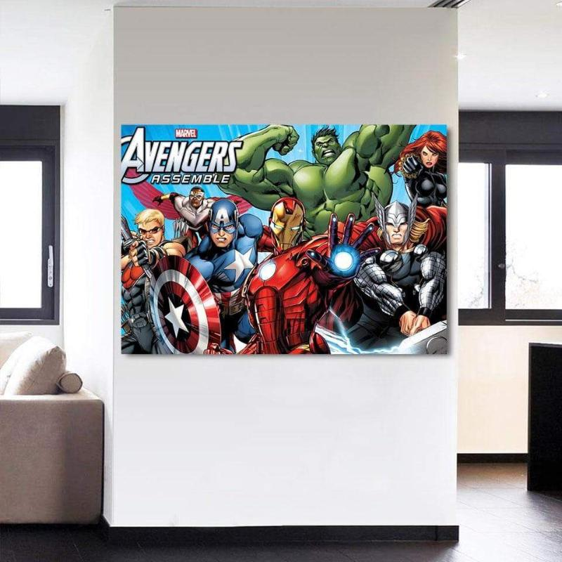 Avengers Comic Assemble 3D Printed Avengers Canvas