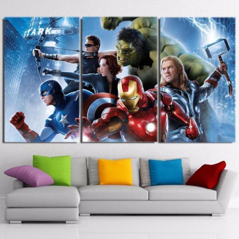 Avengers Cool 3 Piece 3D Printed Avengers Canvas