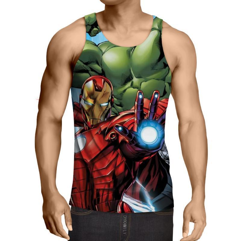 Avengers Iron Man and Hulk 3D Printed Tank Top