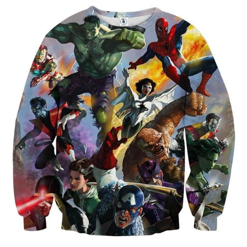 Avengers Marvel All Heroes 3D Printed Avengers Sweatshirt