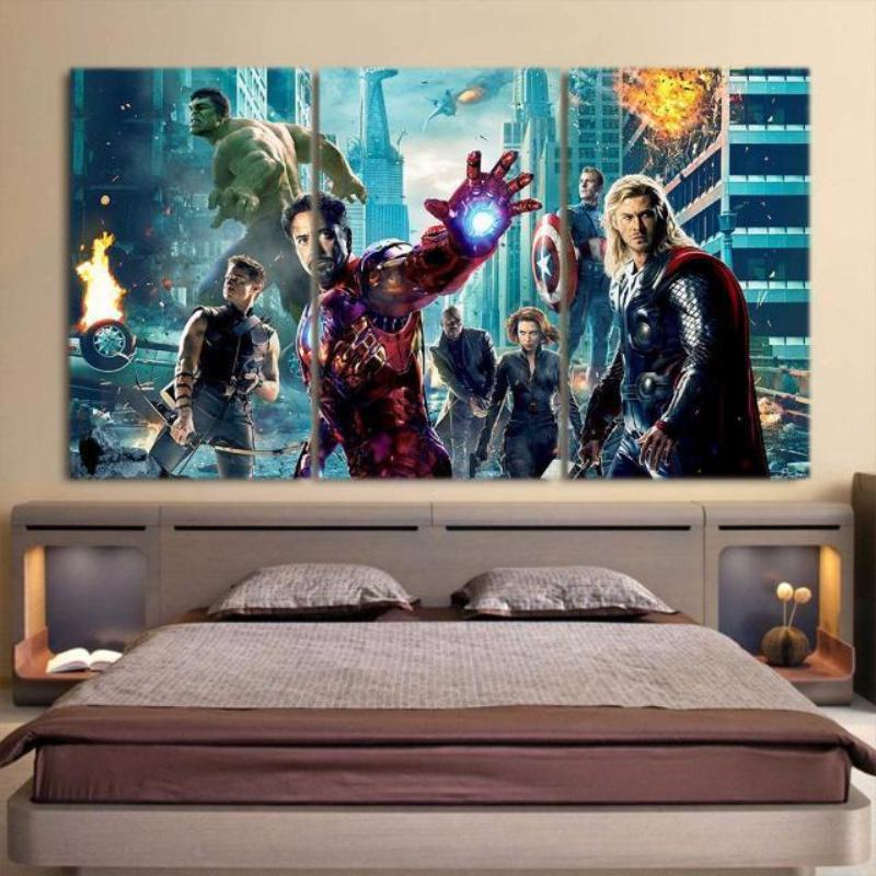 Avengers Part-1 3 Piece 3D Printed Avengers Canvas