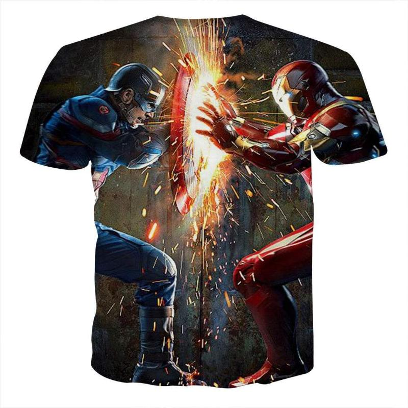 Avengers Tee: Captain America & Iron Man T Shirt 3D Printed