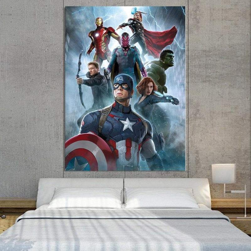 Avengers with Ultron 3D Printed Avengers Canvas