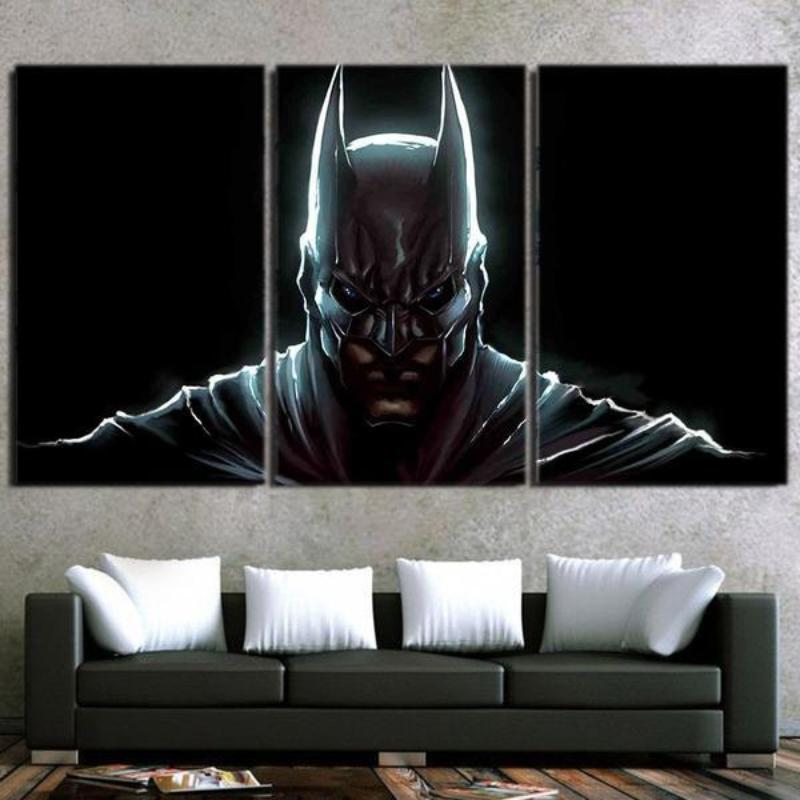 Batman 3-Set Ultra 3D Printed Batman Framed Canvas