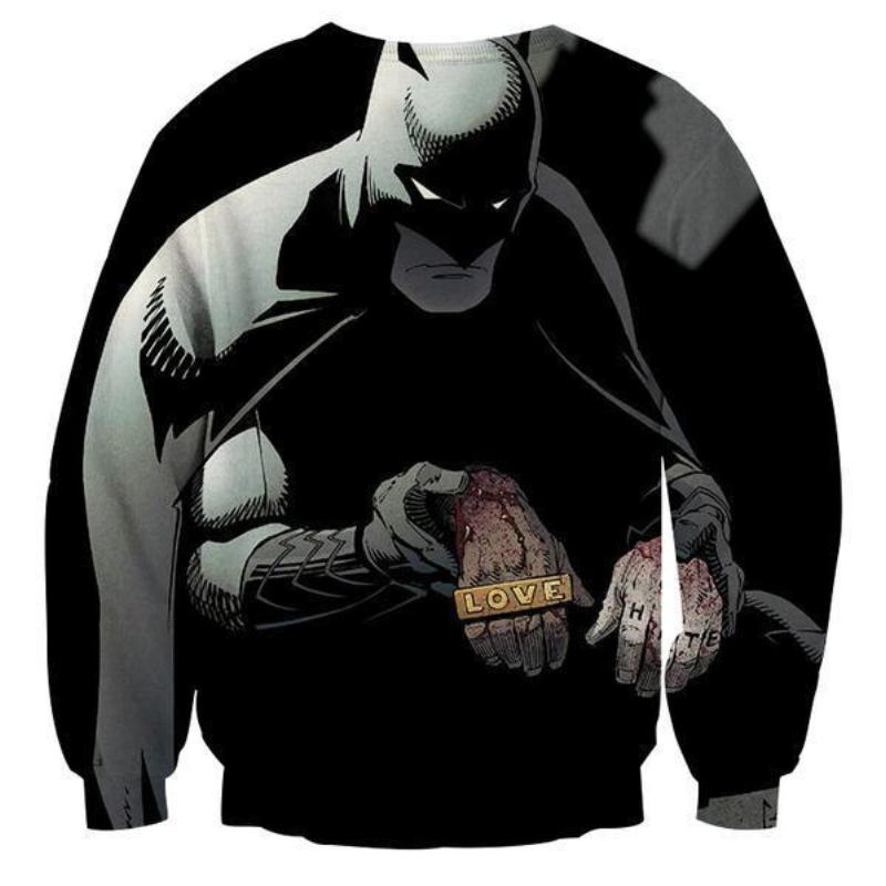 Batman Love,Hate 3D Printed Batman Sweatshirt