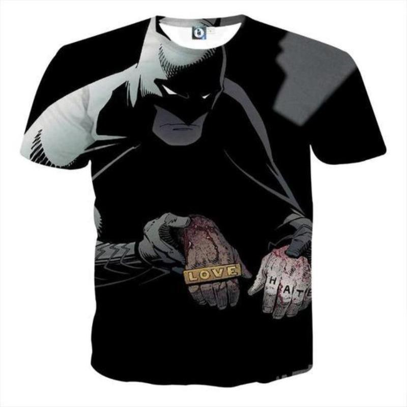 Batman Love,Hate 3D Printed Batman T-shirt