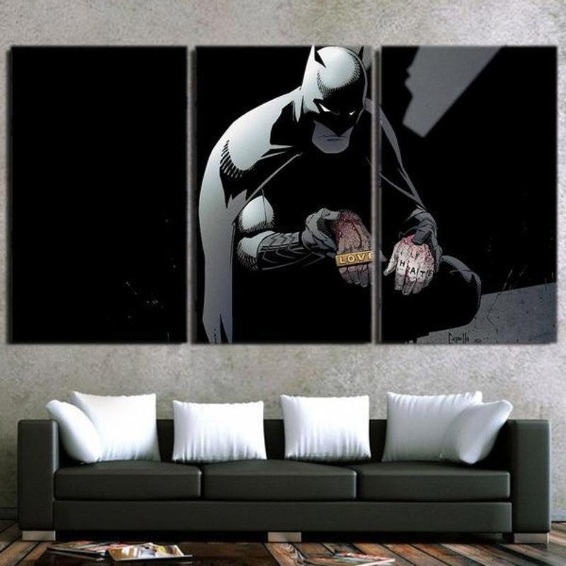 Batman Canvas Love,Hate 3D Printed Framed Canvas