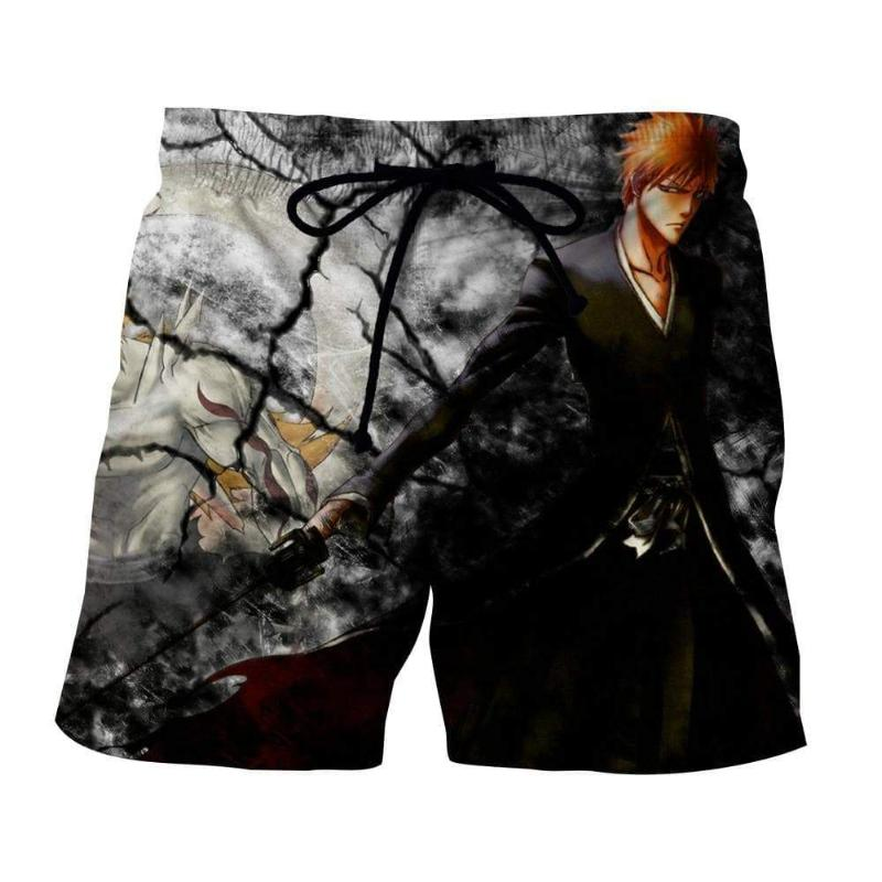 Black Ichigo Bleach 3D Printed Polyester Shorts