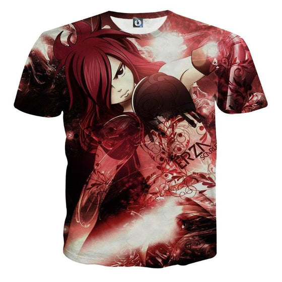 Fairy Tail Tee Erza Scarlet Red 3D Printed Fairy Tail T-Shirt