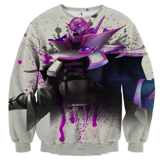 Invoker White Purple 3D Printed Invoker Sweatshirt