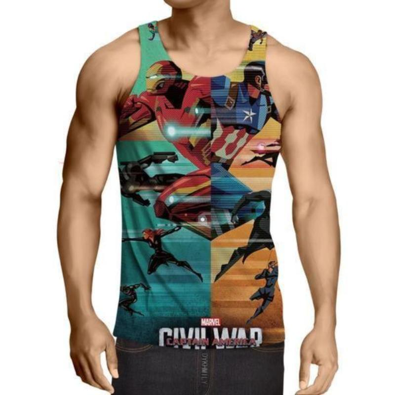 Avengers Iron Man & Captain America 3D Printed Tank Top