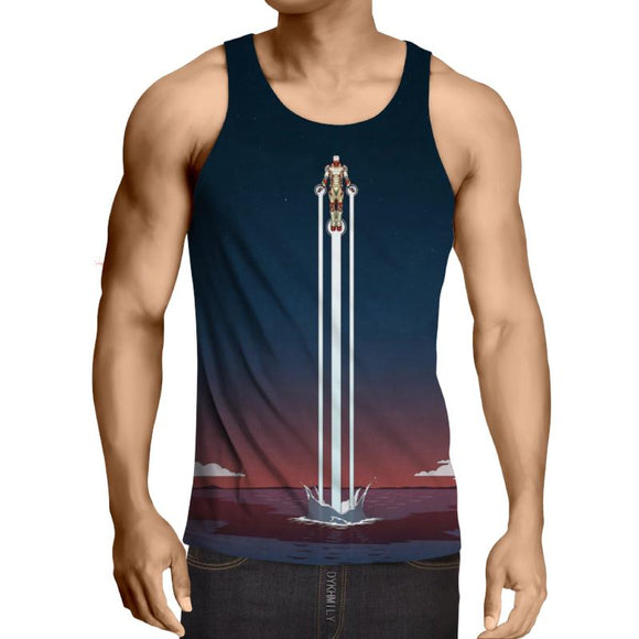 Iron Man Blue 3D Printed Iron Man Tank Top