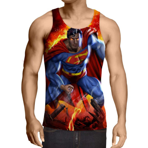 Superman Fighting Action 3D Printed Superman Tank Top