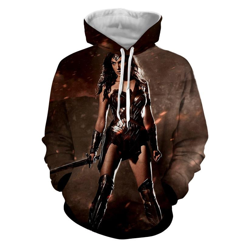 3D Printed Dark Side Wonder Woman Hoodie