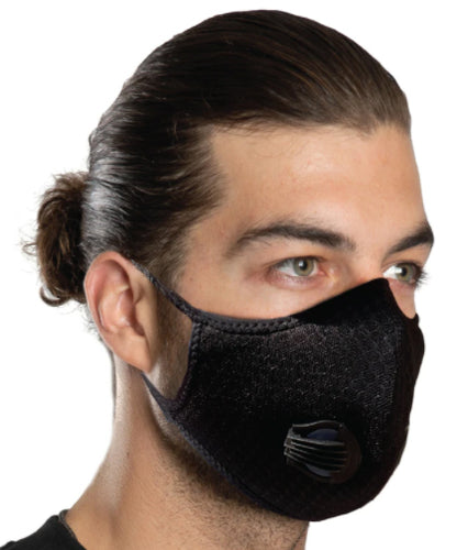 Unisex Solid Black Riding Mask with 1 Way Discharge Valve