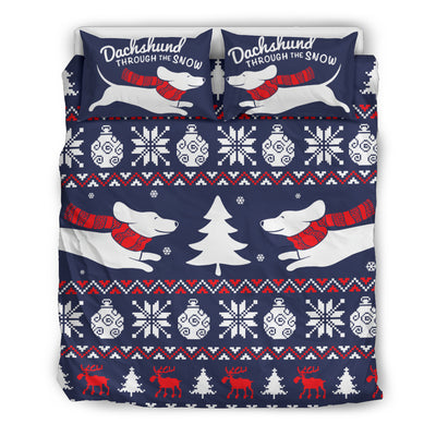 Dachshund Through The Snow Bedding Set