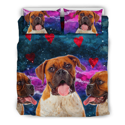 Boxer Dog Hearts Bedding Set Cute Dogs in Space