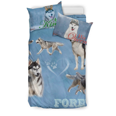 Husky Her King and His Queen Bedding Set