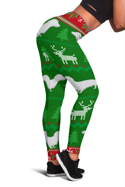 Ugly Christmas Sweater Leggings With Dachshunds