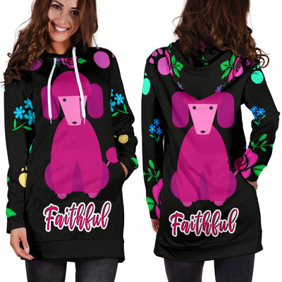 Faithful Poodle Dog Hoodie Dress
