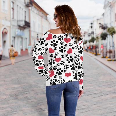 Women`s Off Shoulder Sweater Dog Paw Prints | Premium Ladies Sweater