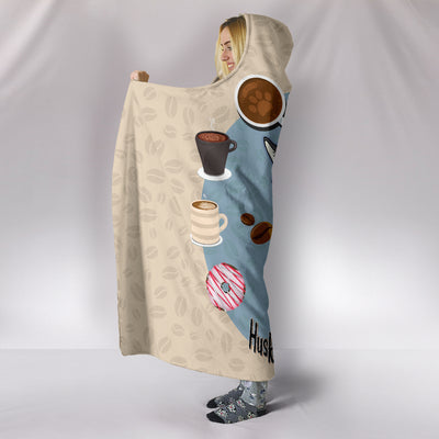 Husky Lovers Coffee Club Hooded Blanket for Lovers of Huskies