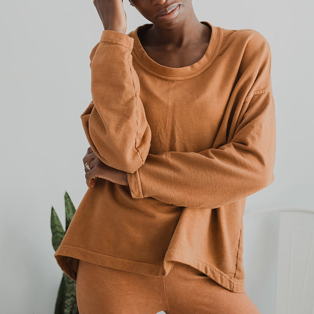 Gina Pullover Organic Cotton Top - Terracotta