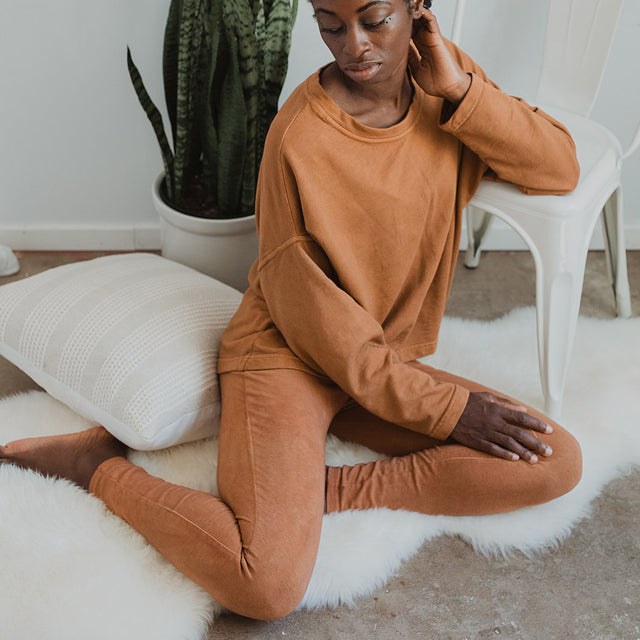 Maggie Organic Cotton Legging - Terracotta