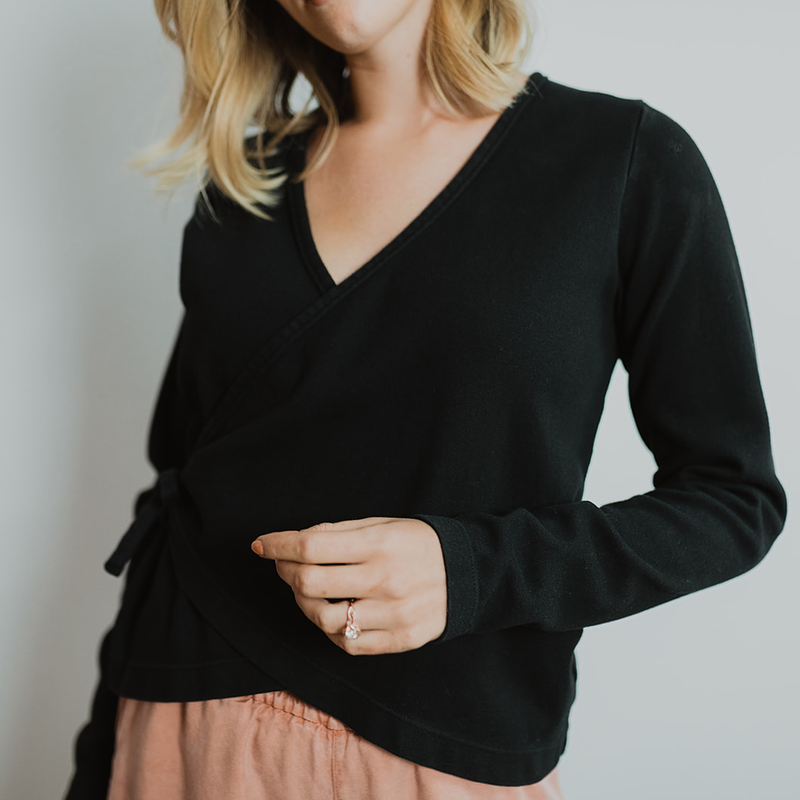 Shelby Wrap Top - Black