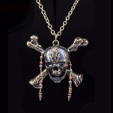 Dead Pirate Skull Long Necklace - Purse Inn