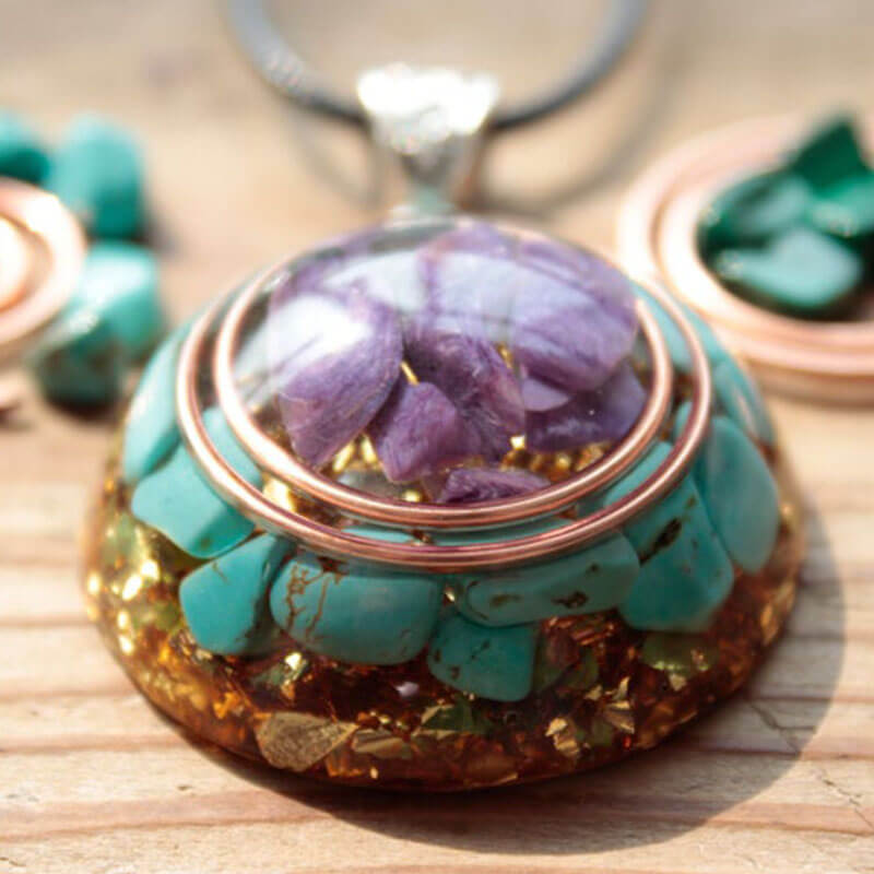 Charoite Turquoise Orgone Necklace