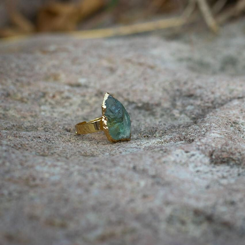 Fluorite Raw Crystal Adjustable Ring