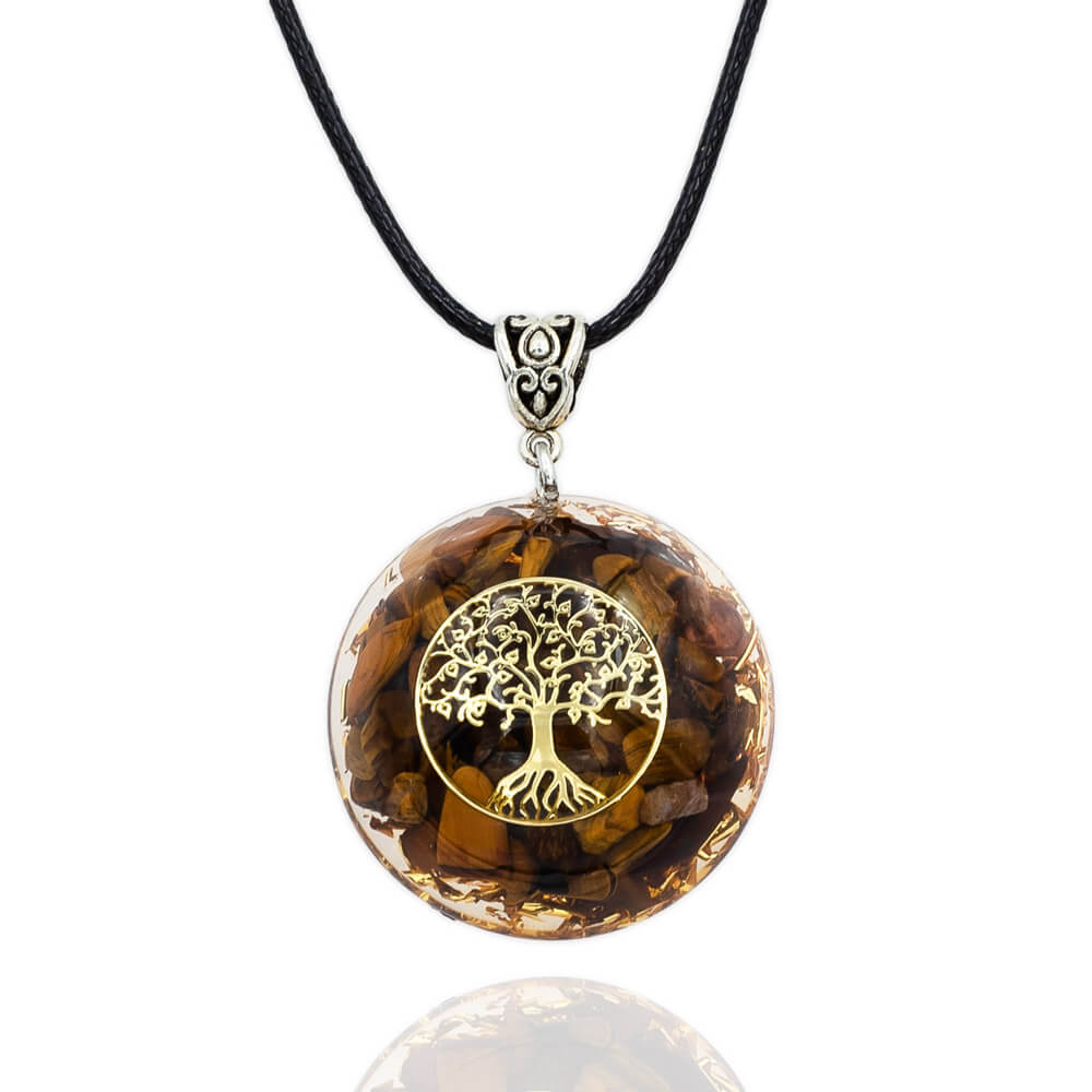 Tree of Life Tiger Eye Orgone Necklace
