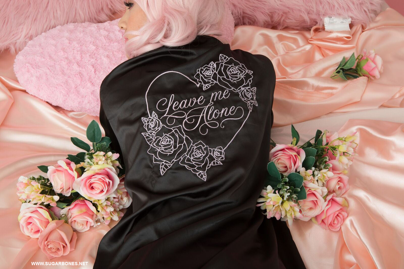 Black Leave Me Alone Satin Robe  Sugarbones-9448