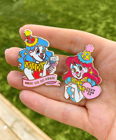 Clown Girl Enamel Pins