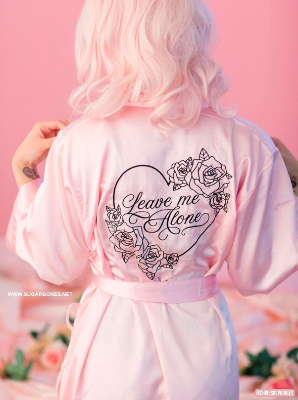 Pink Leave Me Alone Satin Robe