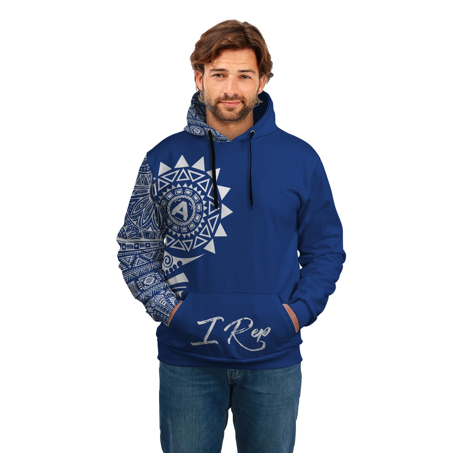I REP FRONT POCKET HOODIE - Blue & White
